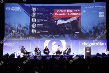 Tarif Sayed (Head of VR Technologies, Nokia), Dan Calladine (Head of Media Futures, Carat), Nina dos Santos (Europe Editor, CNNMoney), Chris Cardew (Head of Strategy, Mindshare) and James Hunt (VP, Create, CNN International Commercial)