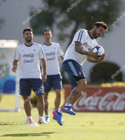 Stock Photo of Argentina's national soccer team player Ezequiel Lavezzi participates in a training session at the Argentinian Soccer Association in Buenos Aires, Argentina, 21 March 2017. Argentina will face Chile 23 March for the FIFA 2018 Russia World Cup qualifying matches.