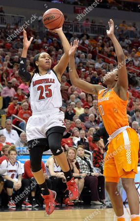Asia Durr, Jordan Reynolds Louisville's Asia Durr (25) shoots over Tennessee's Jordan Reynolds (0) during the second half of a second-round game in the NCAA women's college basketball tournament, in Louisville, Ky