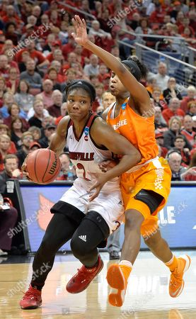 Myisha Hines-Allen, Jordan Reynolds Louisville's Myisha Hines-Allen (2) drives against Tennessee's Jordan Reynolds during the second half of a second-round game in the NCAA women's college basketball tournament, in Louisville, Ky. Louisville won 75-64