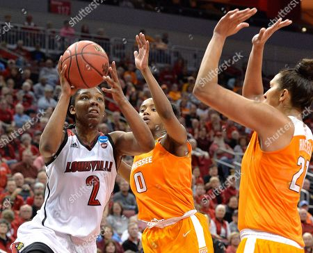 Stock Image of Myisha Hines-Allen, Jordan Reynolds, Mercedes Russell Louisville's Myisha Hines-Allen (2) shoots as Tennessee's Jordan Reynolds (0) and Mercedes Russell (21) defend during the second half of a second-round game in the NCAA women's college basketball tournament, in Louisville, Ky. Louisville won 75-64