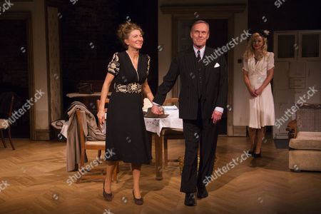 Eve Best (Olivia Brown), Anthony Head (Sir John Fletcher) and Helen George (Diana Fletcher) during the curtain call