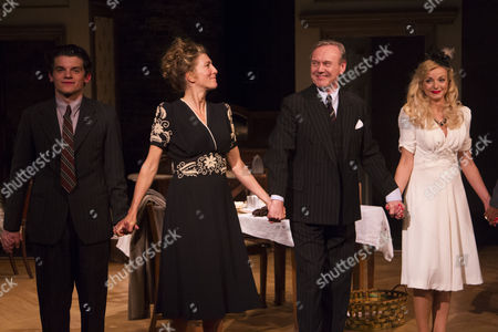 Edward Bluemel (Michael Brown), Eve Best (Olivia Brown), Anthony Head (Sir John Fletcher) and Helen George (Diana Fletcher) during the curtain call