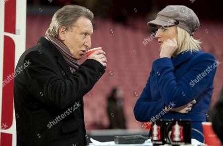 Former Qpr Manager Neil Warnock Talks with Espn Analyst Rebecca Lowe United Kingdom London