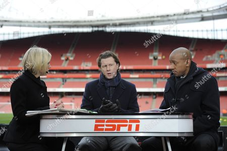 Espn Presenters Rebecca Lowe Steve Mcmanaman and Dion Dublin Present From Inside the Emirates Stadium United Kingdom London