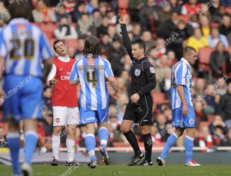 Sebastien Squillaci of Arsenal is Shown A Red Card by Referee Mark Clattenburg United Kingdom London