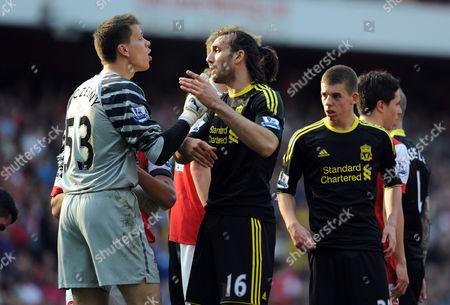 The Arsenal Goalkeeper Wojciech Szczesny Has Words with Sotirios Kyrgiakos of Liverpool United Kingdom London