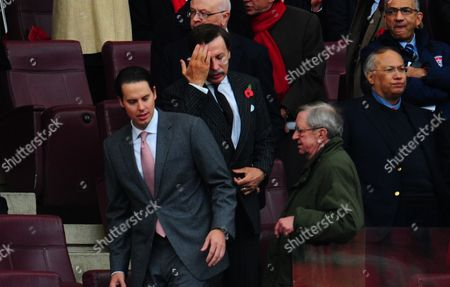 Arsenal Majority Shareholder Stan Kroenke Arrives For the Match Chairman Peter Hill Wood Steps Aside to Allow Him to His Seat United Kingdom London