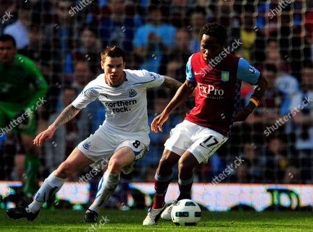 Jean Ii Makoun of Aston Villa and Danny Guthrie of Newcastle United United Kingdom Birmingham