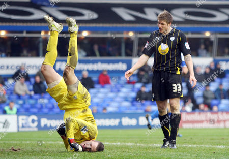 Stock Picture of Neil Mellor of Sheffield Wednesday and Colin Doyle of Birmingham City United Kingdom Birmingham