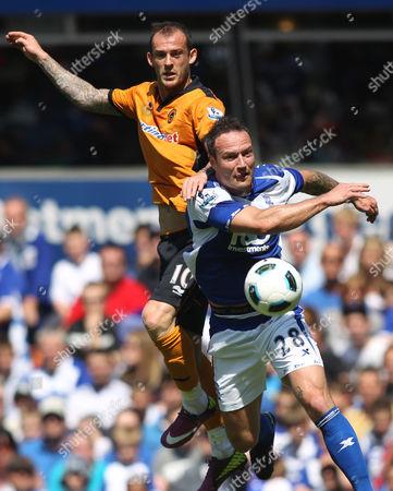 Steven Fletcher of Wolves in Action with Martin Jiranek of Birmingham City United Kingdom Birmingham
