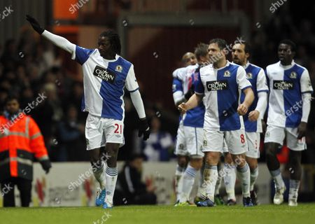 Benjani Mwaruwari of Blackburn Rovers Celebrates Scoring His Goal to Make It 2-0 United Kingdom Blackburn