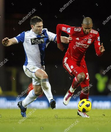 David N'gog of Liverpool and David Dunn of Blackburn Rovers United Kingdom Blackburn