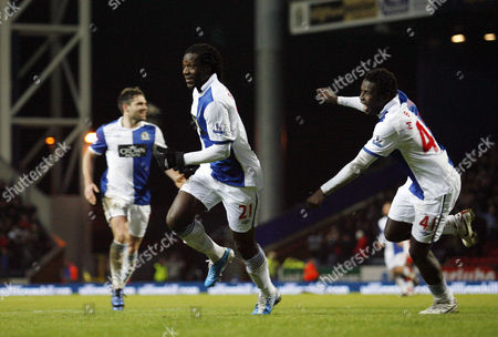 Benjani Mwaruwari of Blackburn Rovers Celebrates Scoring His Goal to Make It 3-0 United Kingdom Blackburn