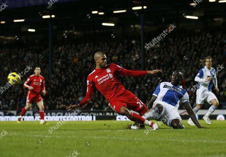 David N'gog of Liverpool and Christopher Samba of Blackburn Rovers United Kingdom Blackburn