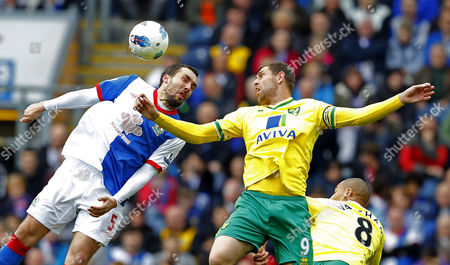 Stock Image of Gael Givet of Blackburn Rovers Returning to the Starting Line Up in Action with Grant Holt of Norwich City United Kingdom Blackburn