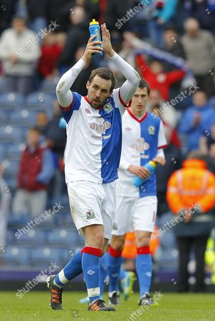 Man of the Match Gael Givet of Blackburn Rovers Returning to the Starting Line Up Today Celebrates at Full Time United Kingdom Blackburn