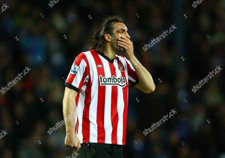 Sotirios Kyrgiakos of Sunderland Looks Dejected As He Sports A Cut Above His Eye United Kingdom Blackburn
