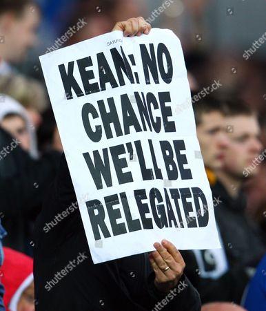 A Blackburn Rovers Fan Displays A Banner Aimed at Manager Steve Kean United Kingdom Blackburn
