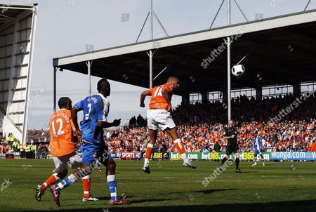 Stock Photo of Elliot Grandin of Blackpool Heads Towards Goal United Kingdom Blackpool