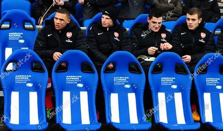 Jack Wilshere of Arsenal Takes His Place On the Substitutes Bench Alongside Vito Mannone Andrey Arshavin and Kieran Gibbs United Kingdom Brighton