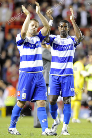 Dejected Captain Mikele Leigertwood and Heider Helguson of Queens Park Rangers Applaud the Fans at the End of the Game United Kingdom Bristol