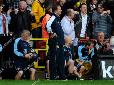 An Unhappy Leeds United Manager Simon Grayson Looks On As the Charlton Athletic Players Celebrate the Goal of Akpo Sodje of Charlton Athletic United Kingdom London