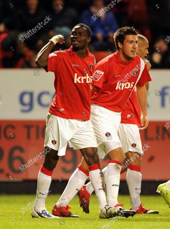 Akpo Sodje of Charlton Athletic Celebrates His Goal United Kingdom London