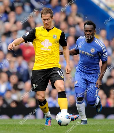 Morten Gamst Pedersen of Blackburn Rovers and Michael Essien of Chelsea United Kingdom London