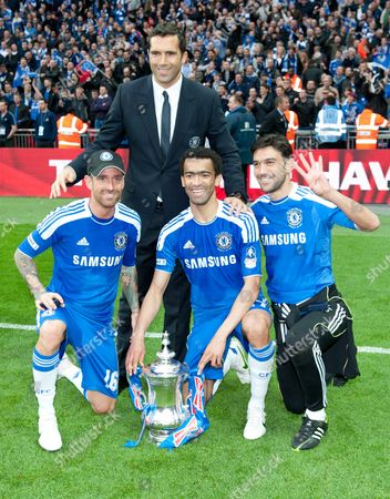 Raul Meireles and Jose Bosingwa of Chelsea with Paulo Ferreira and Henrique Hilario United Kingdom London