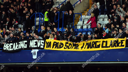 Liverpool Fans Hold Up A Banner Saying 'Breaking News - You Paid £50 Million For Margi Clarke' United Kingdom London