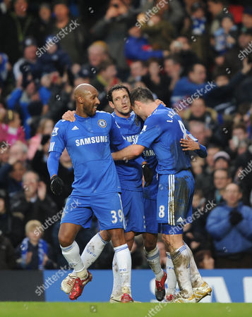 Frank Lampard of Chelsea Celebrates His First Goal with Nicolas Anelka and Juliano Belletti United Kingdom London