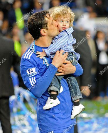 Juliano Belletti of Chelsea Celebrates His Teams Title Win with His Son United Kingdom London