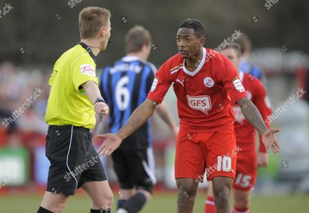 Sanchez Watt of Crawley Town Argues with Referee Mike Jones United Kingdom Crawley