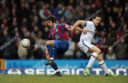 Danny Butterfield of Crystal Palace Challenges For the Ball with Stewart Downing of Aston Villa United Kingdom London