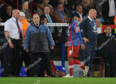 A Dejected Neil Danns Walks Past Crystal Palace Manager Paul Hart After Being Sent Off United Kingdom London