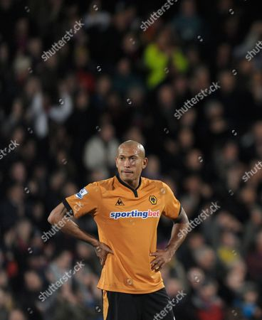 Chris Iwelumo of Wolverhampton Wanderers Looks Dejected After Danny Butterfield of Crystal Palace Scored His Second Goal United Kingdom London