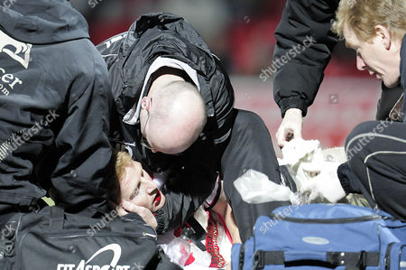 Adam Lockwood of Doncaster Rovers Recieves Treatment After the Wolverhampton Wanderers Goal Scored by Neill Collins United Kingdom Doncaster