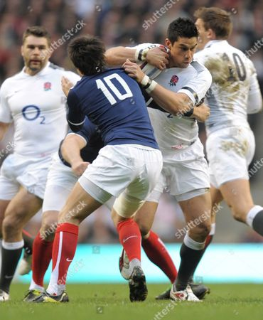 Shontayne Hape of England is Tackled by Francois Trinh-duc of France United Kingdom London