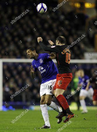Jermaine Beckford of Everton and Zurab Khizanishvili of Reading United Kingdom Liverpool