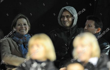 Real Madrid Manager Jose Mourinho Attends the Match Wearing A Hoodie and Looks On Behind Lord Coe and Coe's Partner Carole Annett United Kingdom London