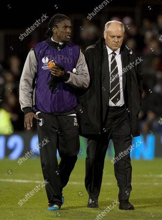 Dickson Etuhu and Fulham Manager Martin Jol United Kingdom London