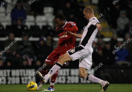 Stock Picture of Somen Tchoyi of West Bromwich Albion Holds Off Brede Hangeland of Fulham to Score the Equalising Goal 1-1 United Kingdom London