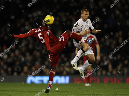 Stock Photo of Somen Tchoyi of West Bromwich Albion in Action with Steve Sidwell of Fulham United Kingdom London