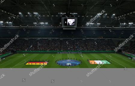 Germany and Ivory Coast Players Observe A Minutes Silence in Memory of Robert Enke Before the Game - Photo Firosportphoto/back Page Images Uk Sales Only Germany Munich