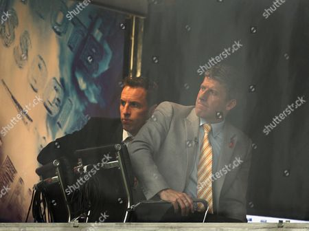 Andy Townsend and Gareth Southgate Watch the Game From the Itv Studio United Kingdom Halifax