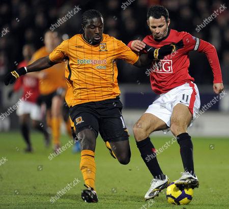 Ryan Giggs of Manchester United Turns Bernard Mendy of Hull City United Kingdom Hull