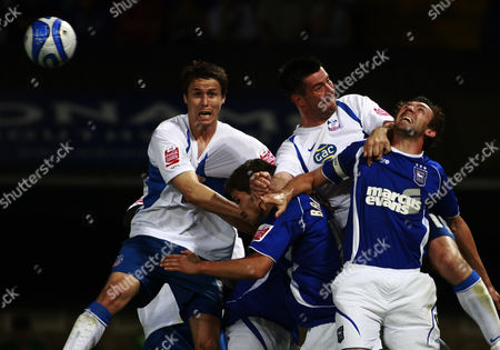 Stock Photo of Patrick Mccarthy and Alan Lee of Crystal Palace with Gareth Mcauley and Pim Balkestein of Ipswich Town United Kingdom Ipswich