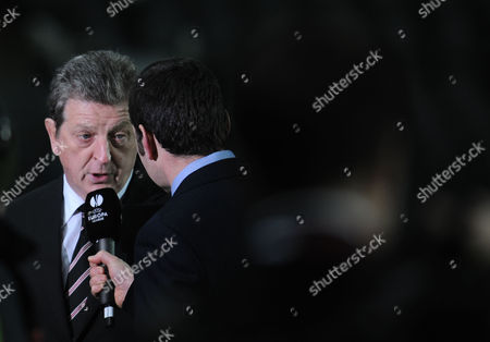 Stock Image of Fulham Manager Roy Hodgson is Interviewed by Ned Boulting of Itv Sport Before Kick Off Italy Turin