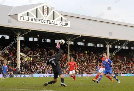 Mladen Petric of Croatia Scores His Sides Fourth Goal Past Goalkeeper Sungryong Jung of Korea Republic United Kingdom London